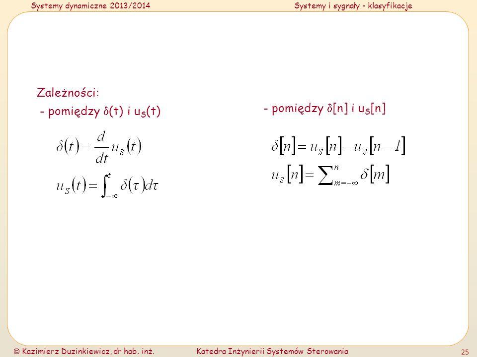 Zależności: - pomiędzy (t) i uS(t) - pomiędzy [n] i uS[n]